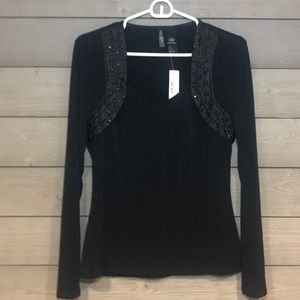 Black jersey material long sleeve top